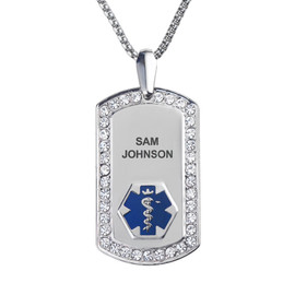 """Supreme Pure Titanium Custom Engraved Medical Alert Necklaces with Stainless Steel Chain,  Medical Dog Tag- 24/28"""" - Style and Color"""