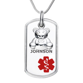 """Teddy Bear Dangle Charm Custom Engraved Medical Alert Necklace, Emergency Medical ID Necklace. Medical Dog Tag - 24/28"""" - Style and Color"""