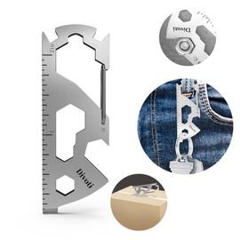 QuarterMaster Key Chain Multi Tool, Stainless Steel 17-in-1 Multi Tool W/Bottle Opener + Carabiner Clip