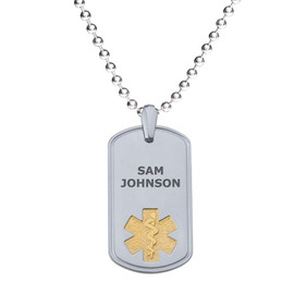 "Deluxe Pure Titanium Custom Engraved Medical Alert Necklace with Stainless Steel Chain, Medical ID Necklace, 24/28"" - Style and Color"
