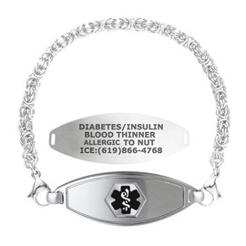 Divoti Custom Engraved Handmade Byzantine Medical Alert Bracelet-Matte Steel Tag