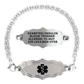 Divoti Custom Engraved Handmade Byzantine Medical Alert Bracelet -Victorian Tag