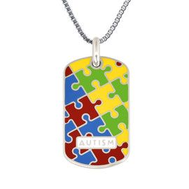 """Autism Puzzle Engraved Medical Alert Necklace with Stainless Steel Chain, Medical ID Necklace, 24/28"""" - Style and Color"""