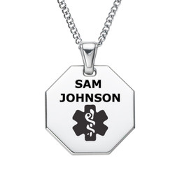"""Octagon Polished Tag  Engraved Medical Alert Necklace with Stainless Steel Chain, Medical ID Necklace, 24/28"""" - Style and Colors"""