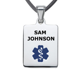 """Sleek Mini Tag Custom Engraved Medical Alert Necklace with 20"""" Leather Cord, Medical ID Necklace - Color"""