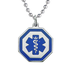 """Premier Octagon Tag  Custom Engraved Medical Alert Necklace with Stainless steel Chain, Medical ID Necklace, 24/28"""" - Style and Color"""