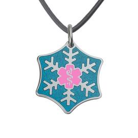 Snowflake Custom Engraved Medical Alert Necklace, Emergency Medical ID Necklace,Medical Pendant Tag w/Free Engraving - 20 in Genuine Leather Cord