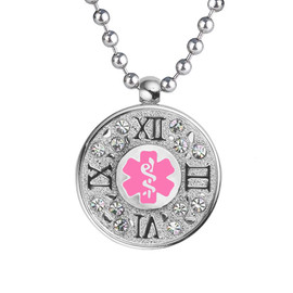 "Timeless Custom Engraved Medical Alert Necklace, Emergency Medical ID Necklace, 24/28"" Stainless Steel Chain -Style and Color"