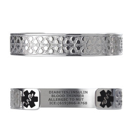 "Charming Petal Custom Engraved Medical Alert Bracelets, Adjustable Medical ID Cuff (fits 6.5-8.0"") - Color"