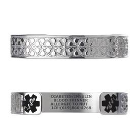 """Charming Petal Custom Engraved Medical Alert Bracelets, Adjustable Medical ID Cuff (fits 6.5-8.0"""") - Color"""