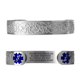 "Elegant Filigree Custom Engraved Medical Alert Bracelets, Adjustable Medical ID Cuff (fits 6.5-8.0"") - Various Colors"