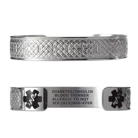 "Celtic Knot Custom Engraved Medical Alert Bracelets, Adjustable Medical ID Cuff (fits 6.5-8.0"") - Color"