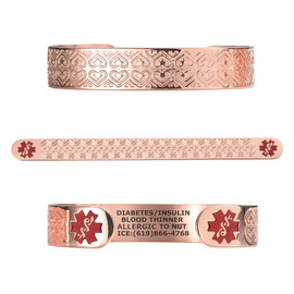 "Valentine Heart PVD Rose Gold/Gold Custom Engraved Medical Alert Bracelets, Adjustable Medical ID Cuff (fits 6.5-8.0"") - Color"