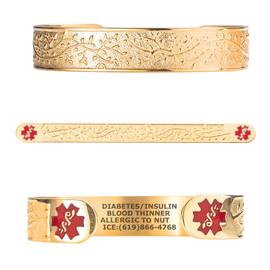 "PVD Beautiful Olive Custom Engraved Medical Alert Bracelets, Adjustable Medical ID Cuff (fits 6.5-8.0"") - Color"