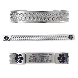 "Wheat Custom Engraved Medical Alert Bracelets, Adjustable Medical ID Cuff (fits 6.5-8.0"") - Color"