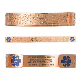 "Living Sea PVD Rose Gold/Gold Custom Engraved Medical Alert Bracelets, Adjustable Medical ID Cuff (fits 6.5-8.0"") - Various Colors"
