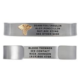 "Premier Pure Titanium PVD Custom Engraved Medical Alert Bracelets, Adjustable Medical ID Cuff (fits 6.5-8.0"") - Color"