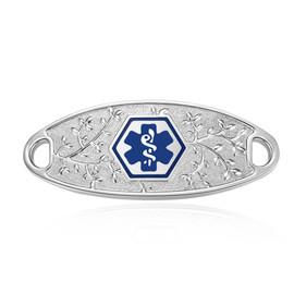 Elegant Olive Custom Engraved Medical ID Tag for Medical ID Bracelet - Vertically Connect