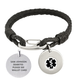 Divoti Custom Engraved Cords Medical Alert Bracelet - Back Street Leather Tag