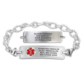 Divoti Custom Engraved Ridged Stainless Medical Alert Bracelet -Rect Classic Tag
