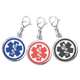"Mix N Match 3/8"" (10mm) 316L Double-sided Medical Alert Charms-3 Pack -Blue, Black & Red"