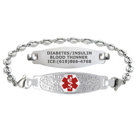 Divoti Custom Engraved Anchor Link Medical Alert Bracelet - Olive Tag
