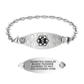 Lovely Filigree Custom Engraved Medical Alert Bracelets with Anchor Chain, Emergency Medical ID Bracelets - Color and Size