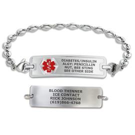 Divoti Custom Engraved Anchor Link Medical Alert Bracelet - Rect Classic Tag