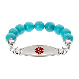 Divoti Custom Engraved Blue Turquoise Bead Medical Alert Bracelet - Contempo Tag