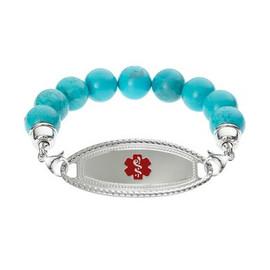 Divoti Custom Engraved Blue Turquoise Beadd Medical Alert Bracelet - Premier Tag