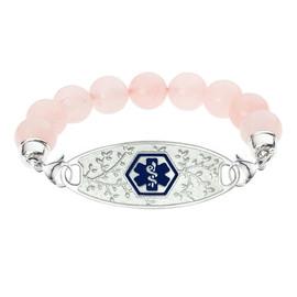 Divoti Custom Engraved Rose Quartz Bead Medical Alert Bracelet - Olive Tag