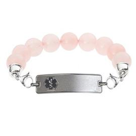 Divoti Custom Engraved Rose Quartz Bead Medical Alert Bracelet-Rect Classic Tag