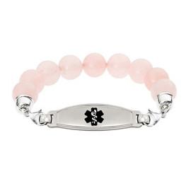 Divoti Custom Engraved Rose Quartz Bead Medical Alert Bracelet - Contempo Tag