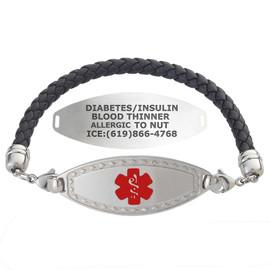 Divoti Custom Engraved Leather Cord Medical Alert Bracelet - Diamond Border Tag