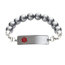 Divoti Custom Engraved Magnetic Hematite  Medical Alert Bracelet - Rect Tag