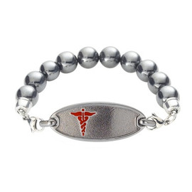 Dainty Custom Engraved Medical Alert Bracelets with Magnetic Hematite Bead Chain, Small Medical ID Bracelets - Color and Size