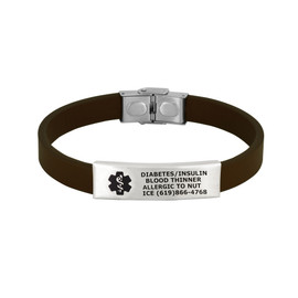 Sleek Custom Engraved Medical Alert Bracelets with Adjustable Leather Band, Fit up to 8.5-inch Wrists - Various Band Colors and Emblem Colors