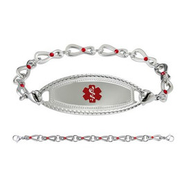 Premier Custom Engraved Medical Alert Bracelets with Infinity Siam Crystal Chain - Color and Size