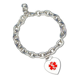 Divoti Custom Engraved Curb Medical Alert Bracelet - Heart Charm Tag