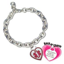 Divoti Custom Engraved Curb Medical Alert Bracelet - Premier Heart Tag
