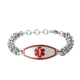 Divoti Custom Engraved Double Roller Medical Alert Bracelet - Max Contempo Tag