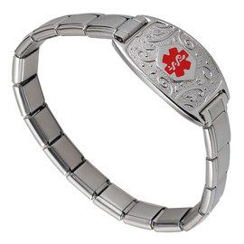 Lovely Filigree Italian Charm Stretch Custom Engraved Medical Alert Bracelets with Modular Charm Band - Color