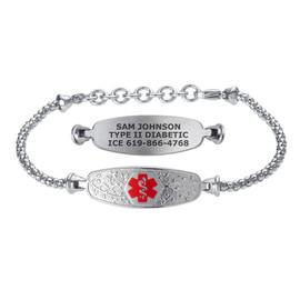 Elegant Olive Custom Engraved Medical Alert Bracelets with Adjustable Corn Chain - Color and Size