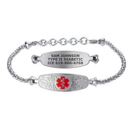 Divoti Custom Engraved Corn Medical Alert Bracelet - Elegant Olive Tag