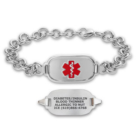 Titan Elite Pure Titanium Small Custom Engraved Medical Alert Bracelets with 8-inch Link Chain - Various Colors