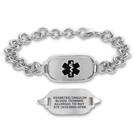 Titan Elite Pure Titanium Large Custom Engraved Medical Alert Bracelets with 10-inch Link Chain - Various Colors