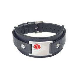 "Rebel Black Genuine Leather Cuff Custom Engraved Medical Alert Bracelets, Adjustable  (Fits up to 8"" wrists) - Color"