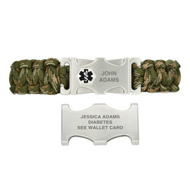 Paracord Custom Engraved Medical Alert Bracelets with Dual-side Release ID Buckle, Camo - Color and Size