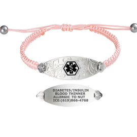 Divoti Custom Engraved Macrame Band Medical Alert Bracelet - Filigree Tag