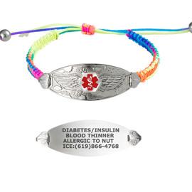 Angel Wing Custom Engraved Medical Alert Bracelets with Adjustable Macrame Band - Band Color and Emblem Color